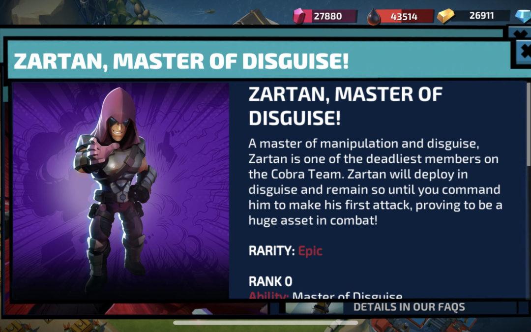 Zartan comes to G.I. Joe: War on Cobra